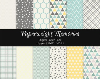 "Digital patterned paper - Spring Melodies -  digital scrapbooking - scrapbook paper - 12x12"" 300dpi  - Commercial Use"