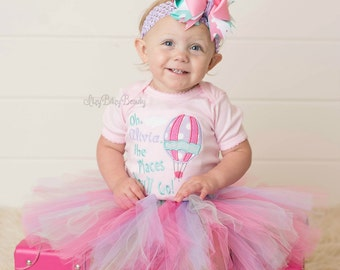 Girls Hot Air Balloon Birthday Outfit - Oh The Places You'll Go - First , Second Birthday Shirt - Pink , Mint , Purple - Headband