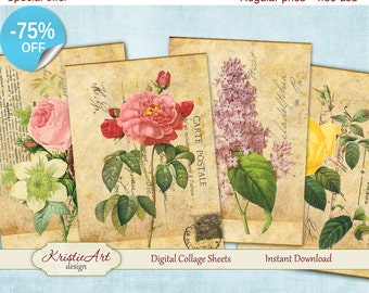 75% OFF SALE Digital Collage Sheets - Beautiful Flowers Postcard Printable download, Cards, Large digital image,Transfer Images for fabrics