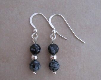 earrings snowflake obsidian sterling silver dangle