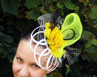 Derby fascinator white fascinator hat black feathers wedding hat YELLOW FLAMENCO
