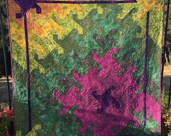 """Modern quilt. Contemporary quilt. Snail's Trail. Monkey Wrench. Purple.Green.Olive.Yellow.Gold.Celery.  63""""x71"""""""