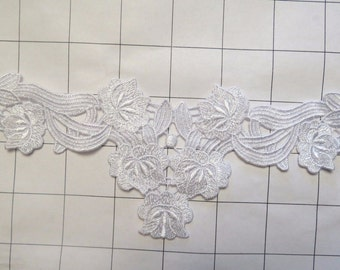 "White Embroidered lace Appliques 8.5"" by 3"" (J-107)"