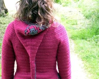 Jehanne hooded cardigan - Crochet pattern for women's elfin coat - goblin pixie fairy liripipe - Size XS to XL - PDF
