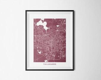 Tallahassee, Florida, Florida State University FSU Abstract Street Map Print