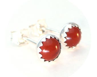 Red Jasper Stud Earrings, Red Studs Sterling Silver