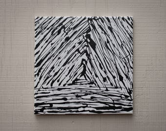 abstract acrylic art original painting black & white geometry triangle on 12x12 canvas