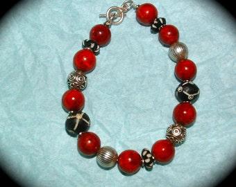 Tribal Bracelet Red, Black and Silver handmade bracelet
