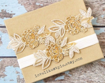 Light Gold and Tan Embroidery Flower Lace Wedding Garter Set, Tan Garter Set, Toss Garter,Wedding Garter Set/ GT-34