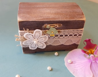 Rustic Ring Bearer Box Wedding/Engagement  Ring Box Ring Holder Custom Wooden Box Shabby Chic Rustic