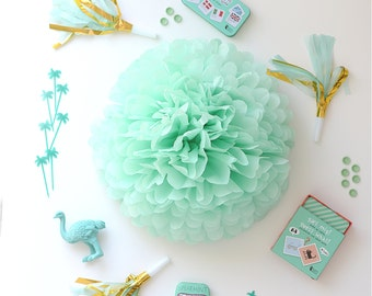Paper pom pom in MINT - wedding decorations / party decor/ nursery decor/ bridal baby shower/ tissue paper pompoms / party poms