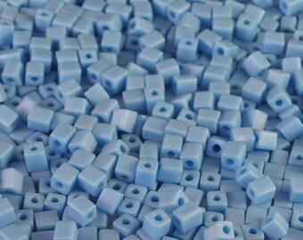 Tube Turquoise mat AB mat 4mm Cube de billes de verre / / Aqua Aurora Borealis Cube de perles