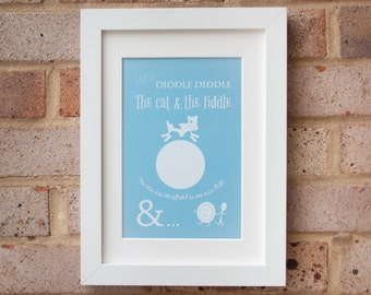 Hey Diddle Diddle - Turquoise - Giclée print