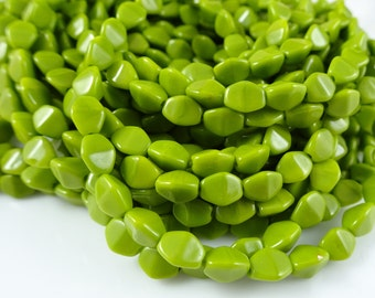 Czech Beads, Czech Glass Pinch Beads - Chartreuse Green (P/SM-84020) - 5mm Pinch Beads - Qty. 50