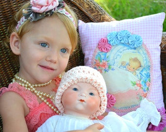 Peachy Keen Crochet Baby Hat Handmade Pale Peach Shabby Chic Crocheted Newborn Girl Infant Beanie 100% Cotton Light Coral Sleeper Night Cap