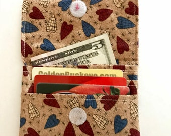 Handmade Fabric Money, Credit Card, or Business Card Wallet, Heart Print 100% Cotton, Gift Idea