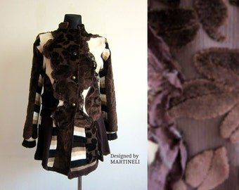 L/XL Brown Tapestry Coat Sweater Coat Recycled Clothing Patchwork Coat Applique Coat Bohemian Coat Flower Coat Extravagant Coat Upcycled