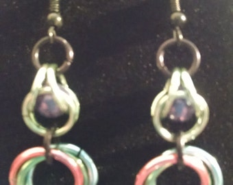 Multicolor Chainmaille Bead Capture Dangle Earrings