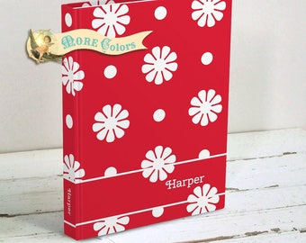 Tween Girl Gift - Personalized Journal - Mod Retro Flower Power Journal -  Personalized Diary - Hardcover Notebook - Choice of Colors