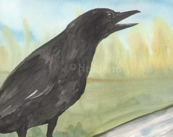Original Art - The Queen of Crows - Watercolor Crow Painting -The Badgers Forest Tarot