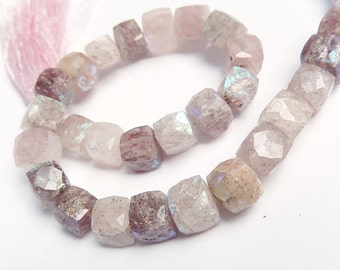 Russian Muscovite Gemstone. Semi Precious Gemstone Briolettes. Faceted AB Square Cube Briolettes, 9mm.  Your Choice
