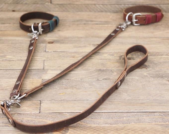 Coupler leash, Double Dog Leash, Black leather lead, Handmade leash, Dog walk, Pet gift, Pet supplies,  Leather coupler.