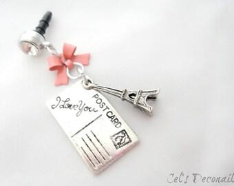 Letters from Paris iPhone dust plug charm, earphone jack charm, Princess phone charm