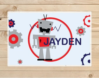 Robot Placemat - Kids Personalized Robot Placemat - Robot Laminated Placemat for Kids