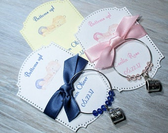Baby Shower Favors - Bottoms up - Wine Glass Charm Favors - Set of 10 - Personalized - Custom - Wine Glass Tags