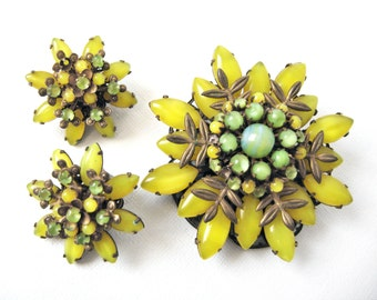 Amourelle By Frank Hess Floral Brooch With Matching Earrings