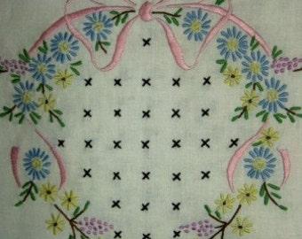 vintage linen ... lovely HANDWORK LINEN cloth with crochet edge ...