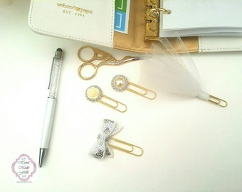 White Planner Clip Set of 4  Paperclip set Planner Clip Bookmark tutu clip set  Erin Condren