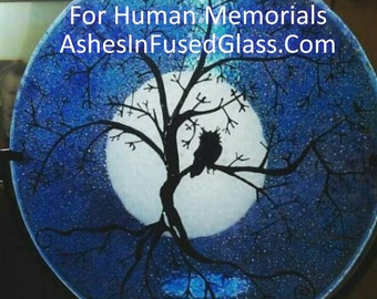 Owl Moon Tree of Life 10in Cremation Ashes InFused Glass Candle Rod Iron Pet Urn