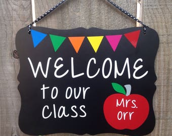 Personalized, Teacher Sign, Teacher Gift, Teacher Appreciation, Welcome to our class, classroom decor, custom teacher name sign, School