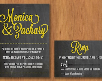 Chalkboard Wedding Invitation // Printable, DIY Wedding, Wedding Invitation, Custom Invitation