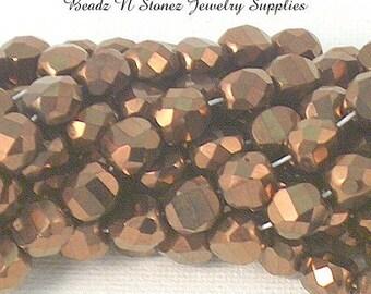 Full Strand Bronze 8x8x6mm Bridge Cut Czech Glass Beads