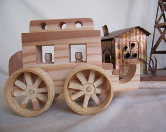 Toy Stagecoach Western Style Handcrafted from Upcycled Wood, Collectible Toy