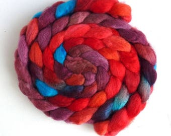 BFL Wool Roving - Hand Painted Spinning or Felting Fiber, Tangerine Dreams