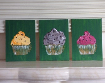 Cupcakes, Painting, Mini size, Kitchen decor, Dining wall art, Petit size art, Lemon custard, Chocolate chip, Rassberry, Dessert art