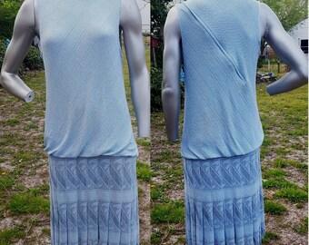 Flapper Costume, Vintage Dress, 70s Dress, Stage Costume, Open Weave Dress, Fringe Dress, Sparkly Dress, Shoulder Detail, Pale Blue Dress