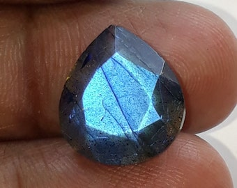 1 pice,natural faceted labradorite gemstone, blue flash, faceted cut stone, pear shape,AAA quality, size 14x15x7 mm loose gemstone, 9.00 cts