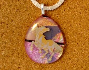 Dichroic Glass Pendant - Dichroic Jewelry - Fused Glass Pendant - Fused Glass Jewelry - Dichroic Necklace - Dichroic Unicorn Pendant