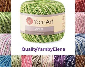Violet  Melange-100% mercerized cotton yarn knitting crochet by Yarnart violet melange 50g 282m (308  yards)
