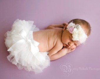Vintage style Baby headband and TUTU Bloomer Set..Full chiffon Bloomers.Hair bow and Diaper Cover...