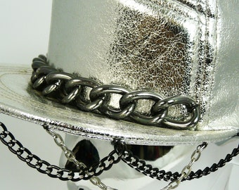 Silver Hat with Chains, Rave Hat, Festival Wear, Burning Man