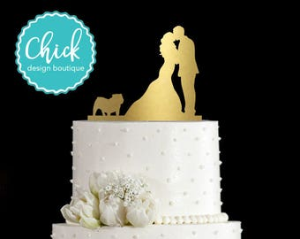 English Bulldog Wedding Cake Topper Hand Painted in Metallic Paint with Couple Kissing