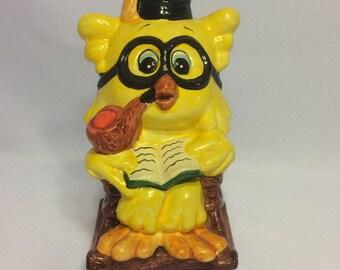 Yellow Owl ceramic bank