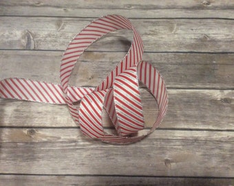 40 Yards Red White Silver Stripe  Wire Edge Ribbon Christmas Tree Holiday Bow