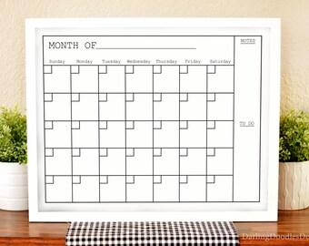 Modern Calendar - 2018 Wall Calendar - Printable Monthly Calendar - Dry Erase Calendar - Simple Calendar- Housewarming Gift -Family Calendar