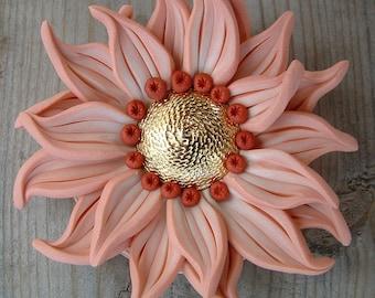 Apricot Big Flower Pendant